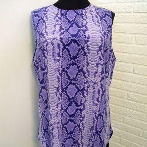 Equipment Femme Snake Skin Print Silk Sleeveless B